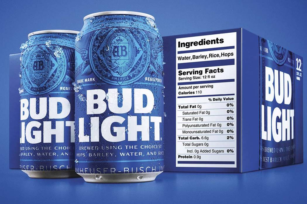 Starting next month, packages of Bud Light will have prominent labels showing the beer's ingredients and calories as well as the amount of fat, carbohydrates and protein in a serving. The labels ...