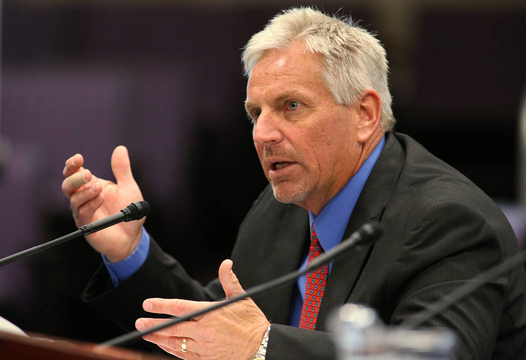 Nevada State Engineer Jason King testifies in a committee hearing in Carson City during the 2015 Legislature. King was again testifying on Tuesday about state water law for lawmakers of the 2017 L ...