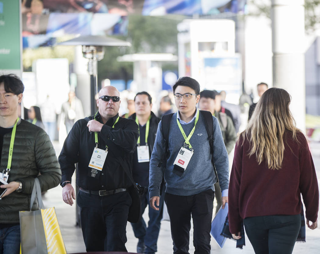 The sidewalks outside the Las Vegas Convention Center are packed during the last day of CES 2019 on Friday, Jan. 11, 2019, in Las Vegas. The four day tech event brought over 4,500 vendors and 180, ...
