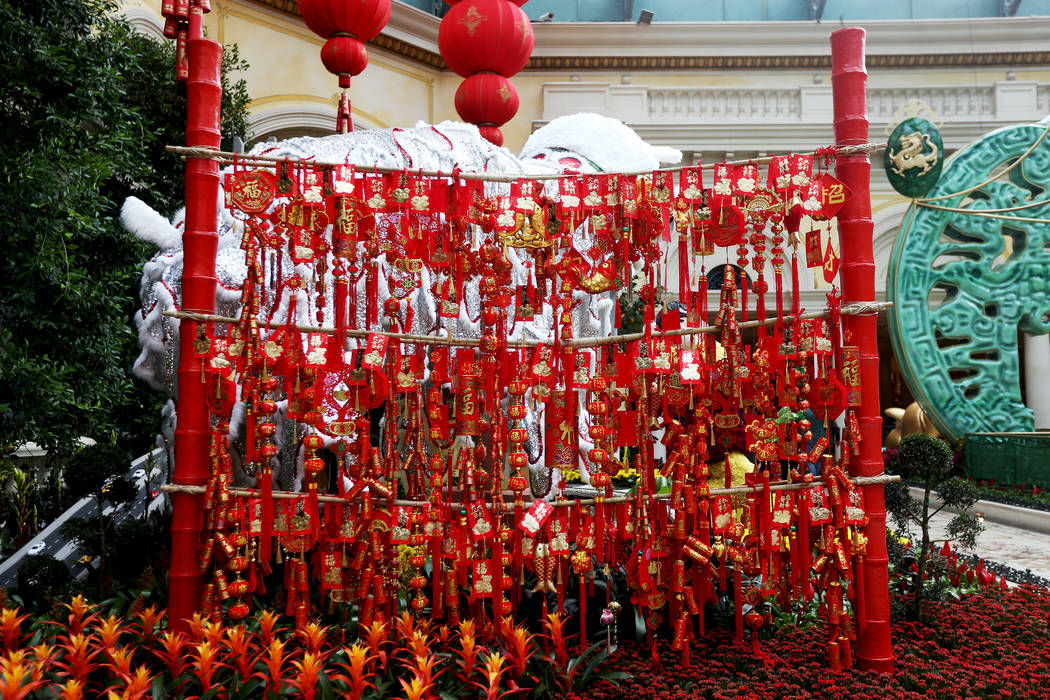 Red lanterns at the Chinese New Year Year of the Pig display at the Bellagio Conservatory at the Bellagio in Las Vegas, Monday, Jan. 14, 2019. Rachel Aston Las Vegas Review-Journal @rookie__rae