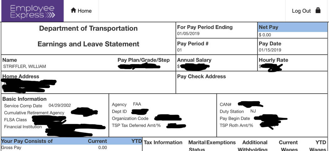 This portion of Bill Striffler's electronic pay stub provided by him to the Associated Press on Friday, Jan. 11, 2019, with portions blacked out by him, shows his recent pay to be $0.00 for his wo ...