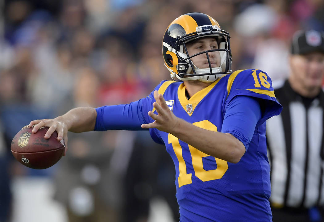 Los Angeles Rams quarterback Jared Goff passes San Francisco 49ers during the second half in an NFL football game Sunday, Dec. 30, 2018, in Los Angeles. (AP Photo/Mark J. Terrill)