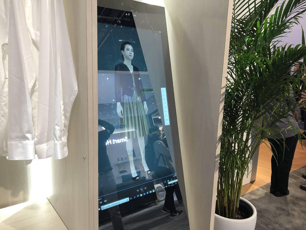 Haier's smart mirror, which helps users choose clothes, on display at CES 2019. The device is currently only available in China. (Bailey Schulz/Las Vegas Review-Journal)