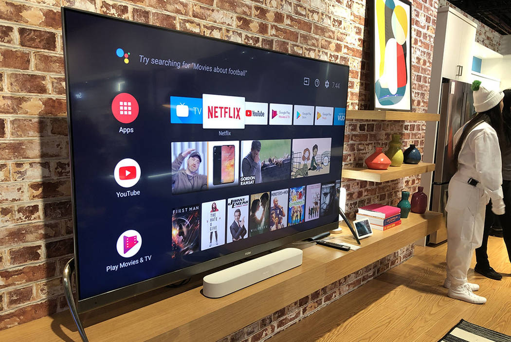 Haier's smart TV, available in China, on display at CES 2019. (Bailey Schulz/Las Vegas Review-Journal)