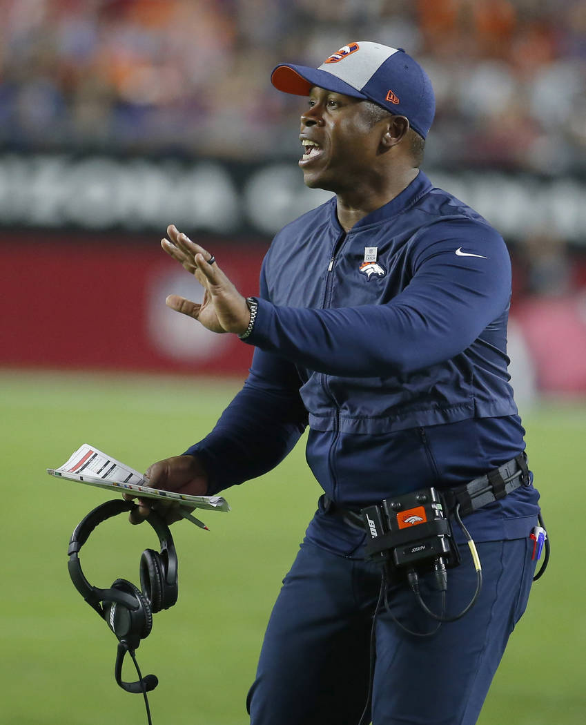 In this Oct. 18, 2018, file photo, Denver Broncos head coach Vance Joseph gestures during an NFL football game against the Arizona Cardinals, in Glendale, Ariz. Former Denver Broncos head coach Va ...