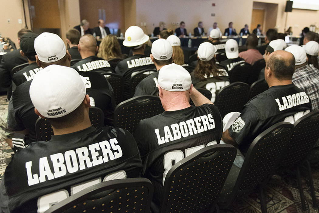 Members of Laborers Union Local 872 are seen during a Southern Nevada Tourism Infrastructure Committee meeting at the Stan Fulton Building at UNLV in Las Vegas Thursday, June 23, 2016. (Las Vegas ...
