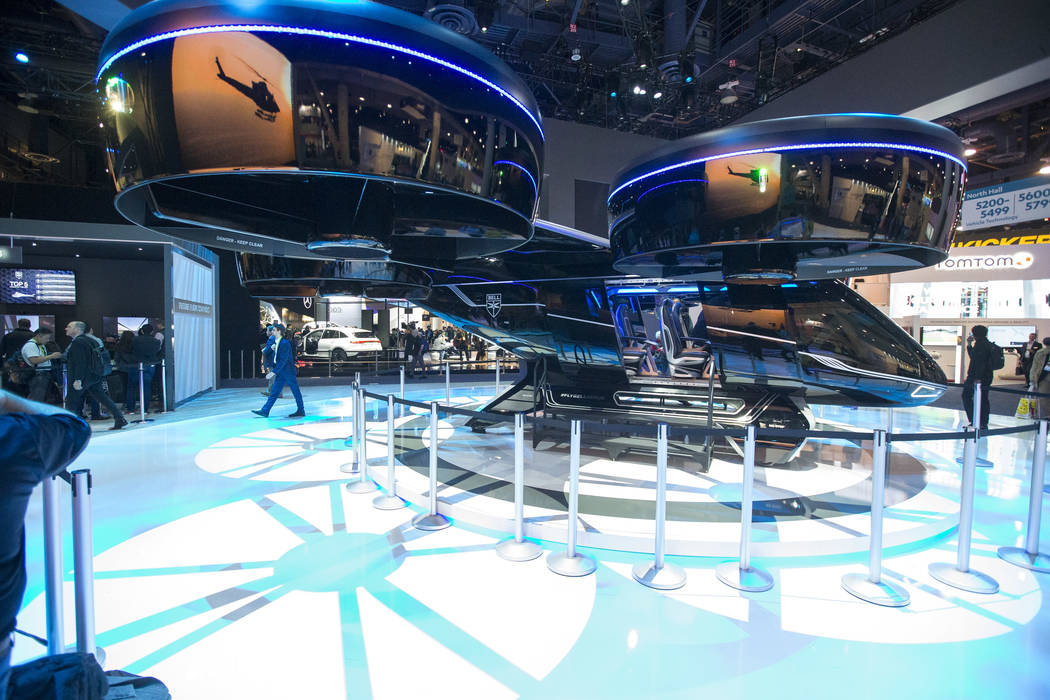The Bell Nexus, a hybrid-electric air taxi concept, on display on day one of CES at the Las Vegas Convention Center in Las Vegas on Tuesday, Jan. 8, 2019. Richard Brian Las Vegas Review-Journal @v ...