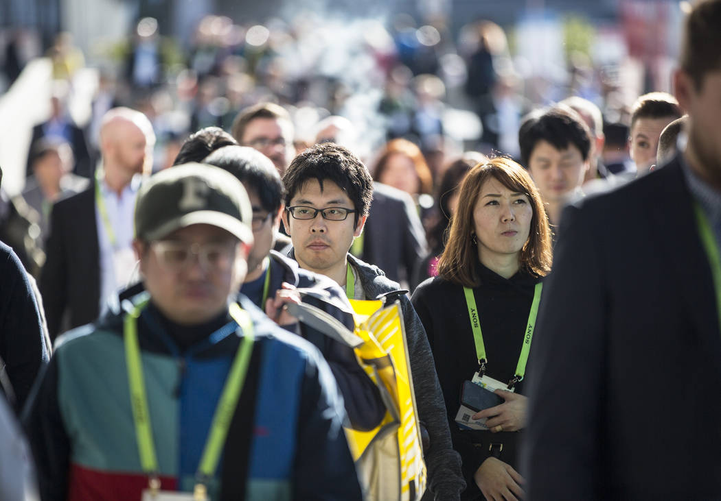 The sidewalks outside the Las Vegas Convention Center are packed during the second day of CES 2019 on Wednesday, Jan. 9, 2019, in Las Vegas. The four day tech event brings over 4,500 vendors and 1 ...