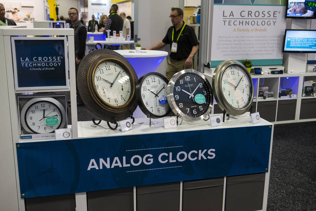 Analog clocks from La Crosse Technology at the Sands Expo and Convention Center during CES in Las Vegas on Thursday, Jan. 10, 2019. Chase Stevens Las Vegas Review-Journal @csstevensphoto
