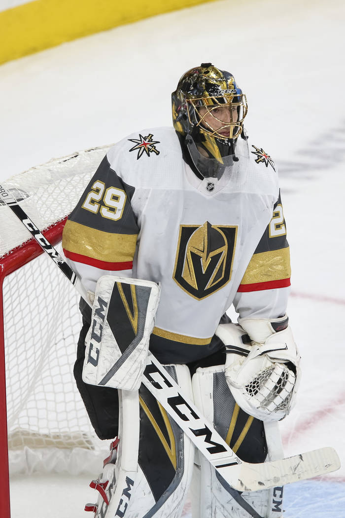 Vegas Golden Knights goaltender Marc-Andre Fleury (29) at his net against the San Jose Sharks during the second period of an NHL hockey game at T-Mobile Arena in Las Vegas on Thursday, Jan. 10, 20 ...