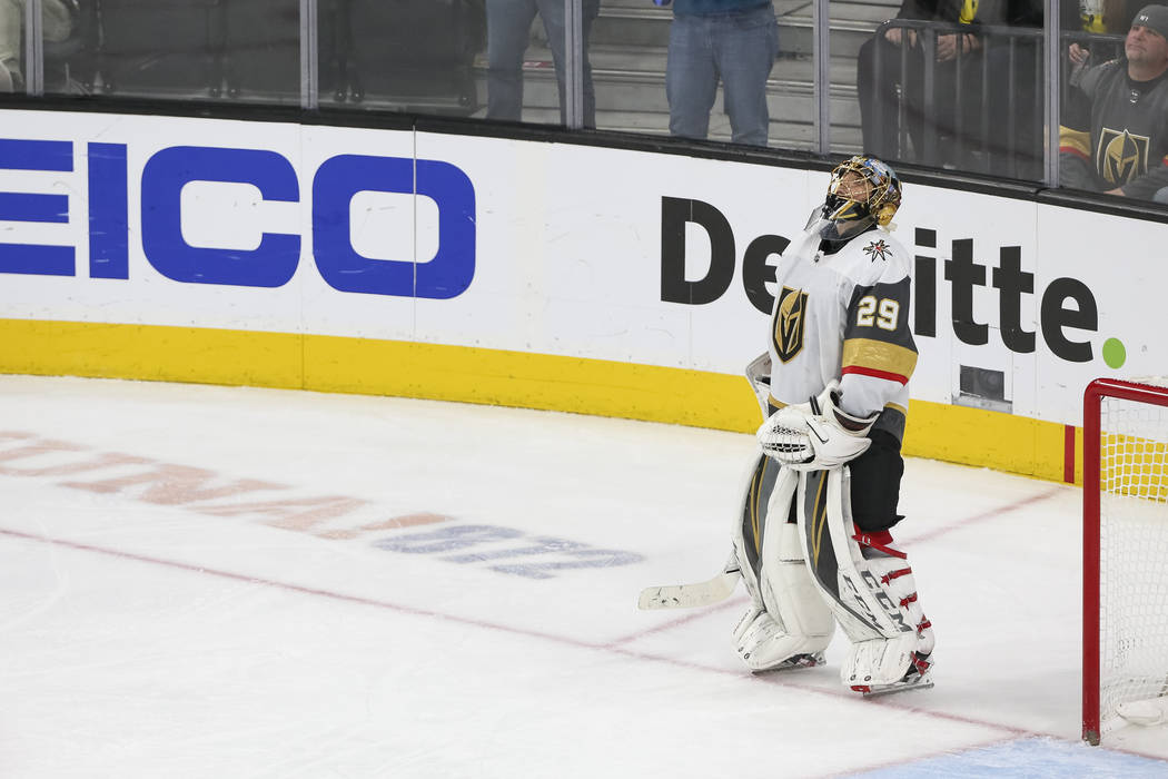 Vegas Golden Knights goaltender Marc-Andre Fleury (29) looks up at the scoreboard after letting in a puck by San Jose Sharks right wing Joonas Donskoi (27) during the third period of an NHL hockey ...