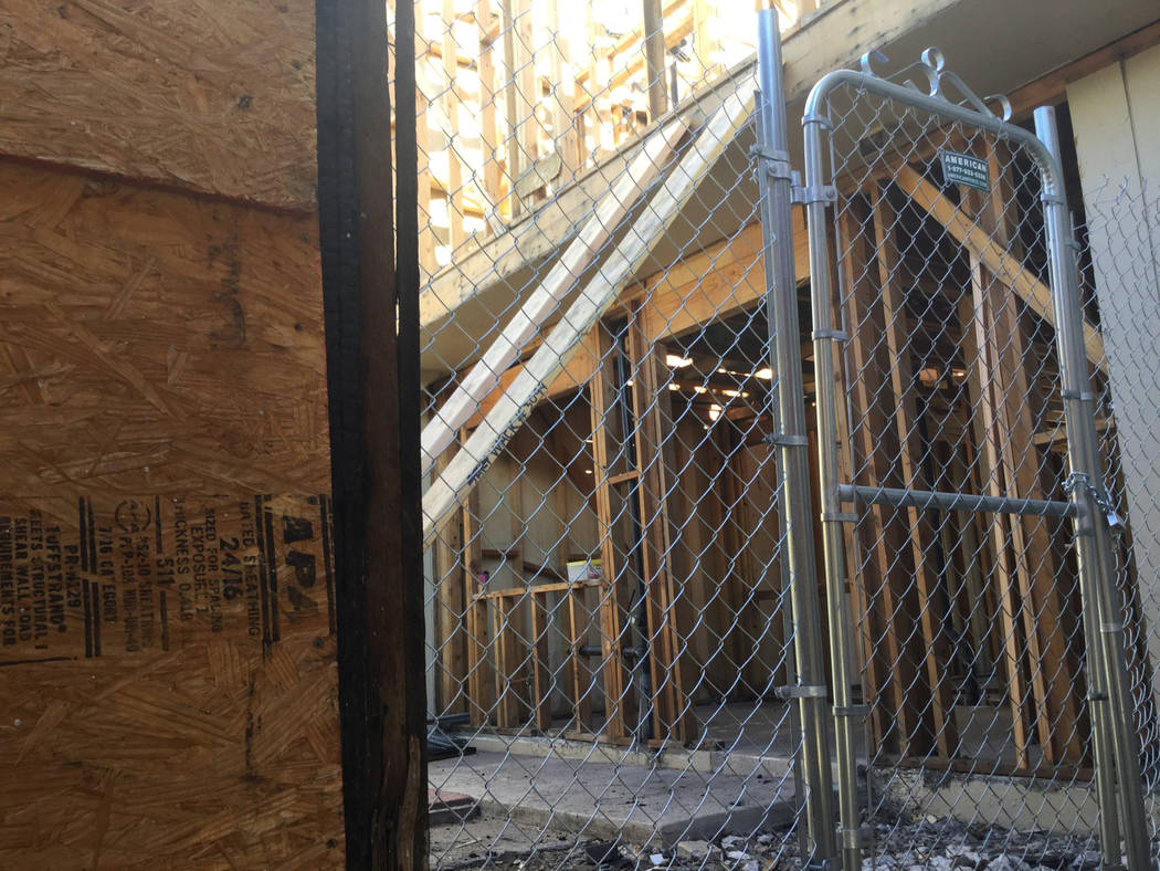 The fire-damaged townhouse at 4078 Gold Coast Drive in Las Vegas, seen above Friday, Jan. 11, 2019, sold for $15,000 in June 2018. Eli Segall/Las Vegas Review-Journal