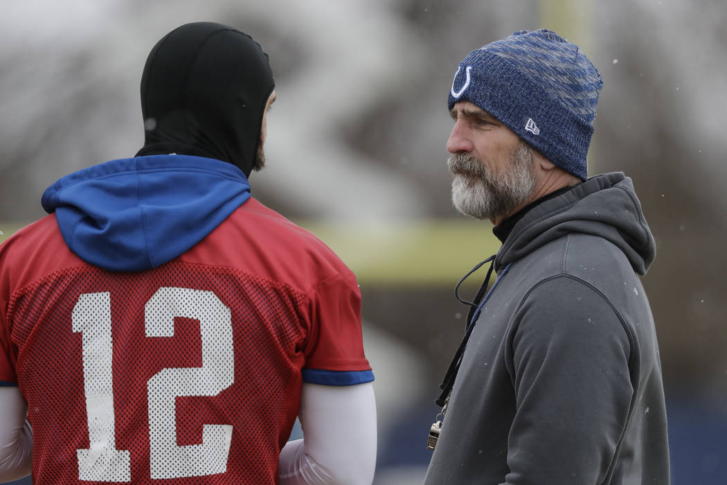 Indianapolis Colts head coach Frank Reich talks with quarterback Andrew Luck (12) during practice at the NFL football team's facility, Wednesday, Jan. 9, 2019, in Indianapolis. The Colts will play ...