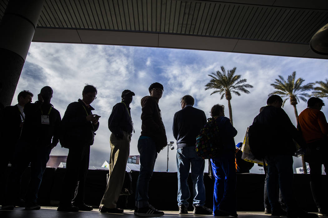 The sidewalks are packed outside the Las Vegas Convention Center during the last day of CES 2019 on Friday, Jan. 11, 2019, in Las Vegas. The four day tech event brought over 4,500 vendors and 180, ...