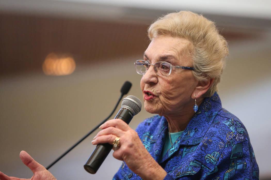 "Celina Karp Biniaz, Holocaust Survivor of Schindler's List, presents her story ""Courage"" at Temple Sinai in Las Vegas, Sunday, Jan. 13, 2019. Caroline Brehman/Las Vegas Review-Journal"