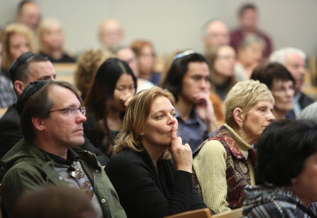 "Audience members listen as Celina Karp Biniaz, Holocaust Survivor of Schindler's List, presents her story ""Courage"" at Temple Sinai in Las Vegas, Sunday, Jan. 13, 2019. Caroline Brehman/ ..."