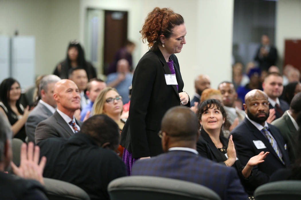 Ashley Olivetti attends her graduation from Hope For Prisoners at the Las Vegas Metropolitan Police Department headquarters in Las Vegas, Friday, Jan. 11, 2019. Erik Verduzco Las Vegas Review-Jour ...