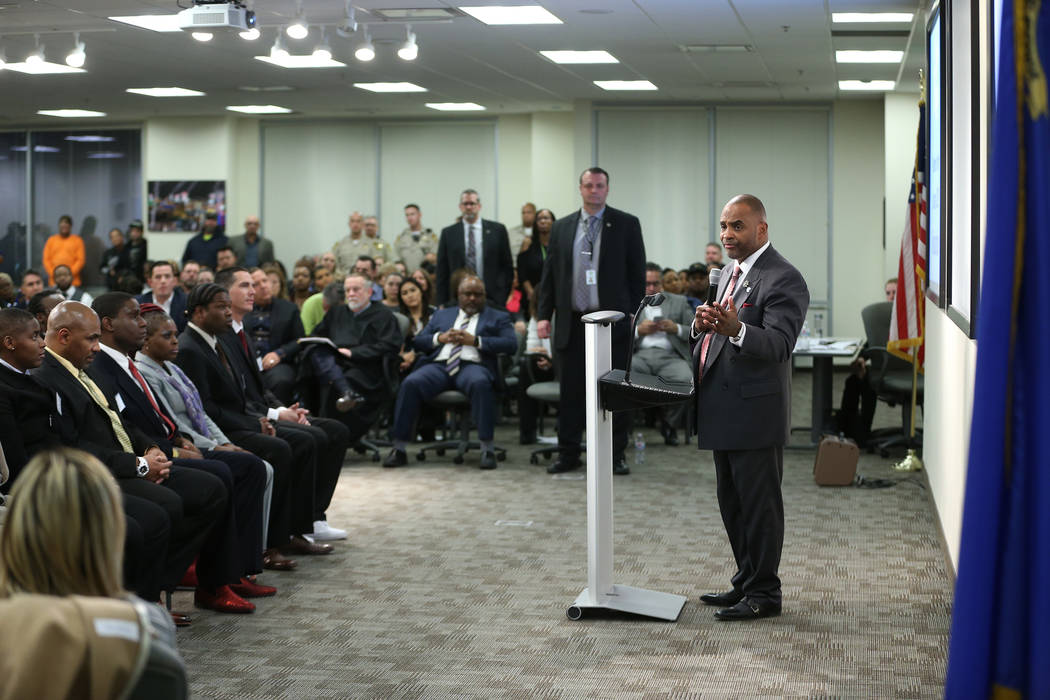 Hope For Prisoners CEO Jon Ponder speaks during a program graduation at the Las Vegas Metropolitan Police Department headquarters in Las Vegas, Friday, Jan. 11, 2019. Erik Verduzco Las Vegas Revie ...