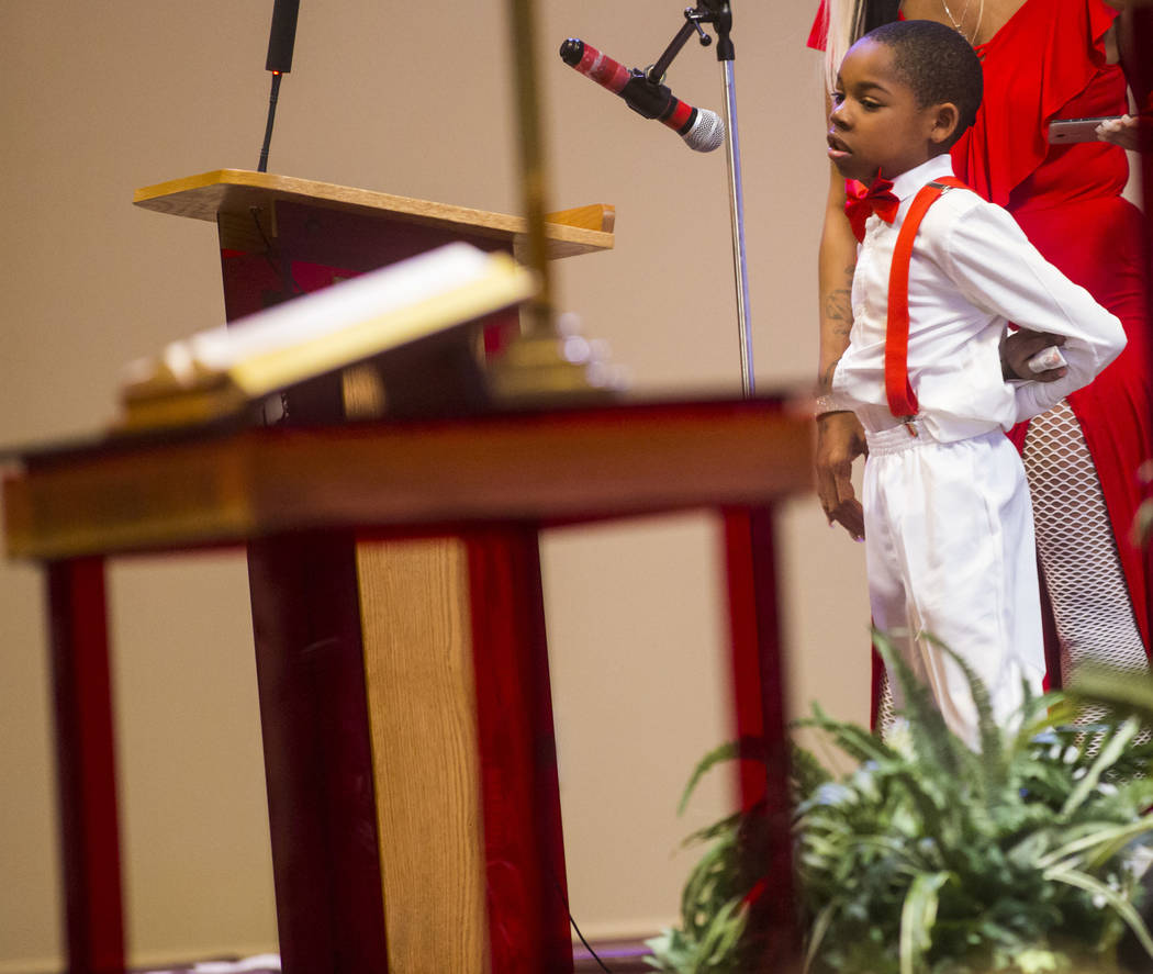 C.J. Endsley, 8, remembers Kwavon'tia Thomas during a memorial service at Unity Baptist Church in Las Vegas on Saturday, Jan. 12, 2019. Thomas, 18, died in a Christmas Eve shooting in North Las Ve ...