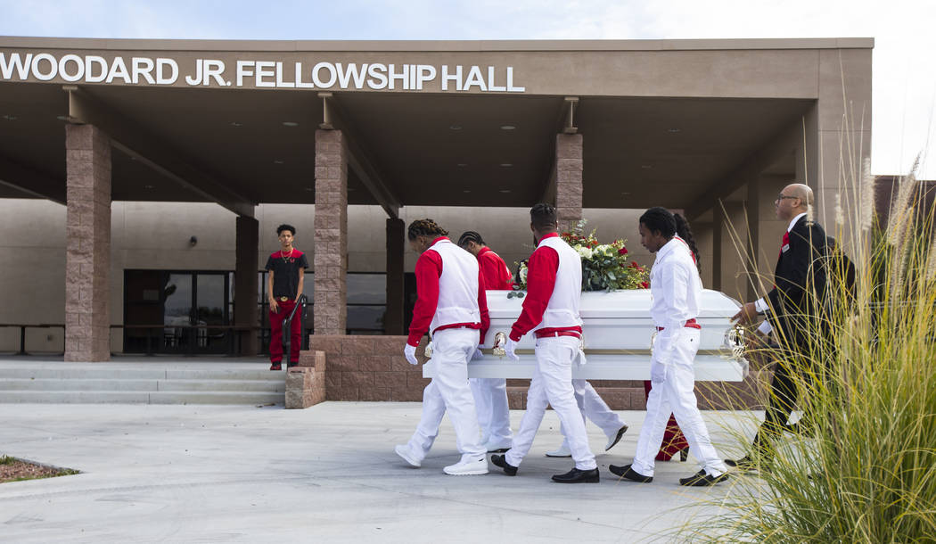 Pallbearers hold the casket bearing Kwavon'tia Thomas after his memorial service at Unity Baptist Church in Las Vegas on Saturday, Jan. 12, 2019. Thomas, 18, died in a Christmas Eve shooting in No ...