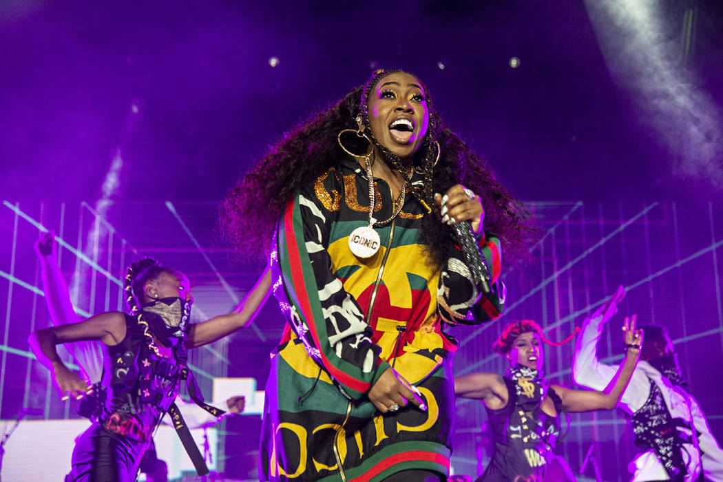 FILE - In this July 7, 2018 file photo, Missy Elliott performs at the 2018 Essence Festival in New Orleans. Missy Elliott is making history as the first female rapper inducted into the Songwriters ...