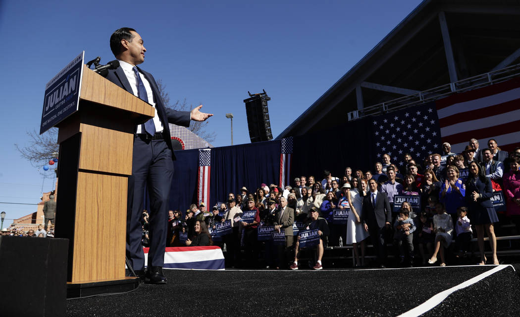 Former San Antonio Mayor and Housing and Urban Development Secretary Julian Castro speaks during an event where he announced his decision to seek the 2020 Democratic presidential nomination, Satur ...