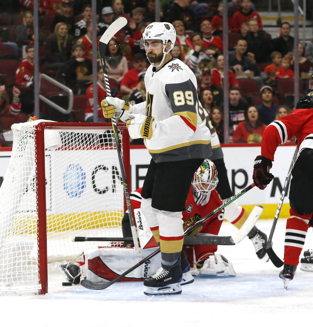 Vegas Golden Knights right wing Alex Tuch (89) reacts after his goal against the Chicago Blackhawks during the second period of an NHL hockey game Saturday, Jan. 12, 2019, in Chicago. (AP Photo Nu ...