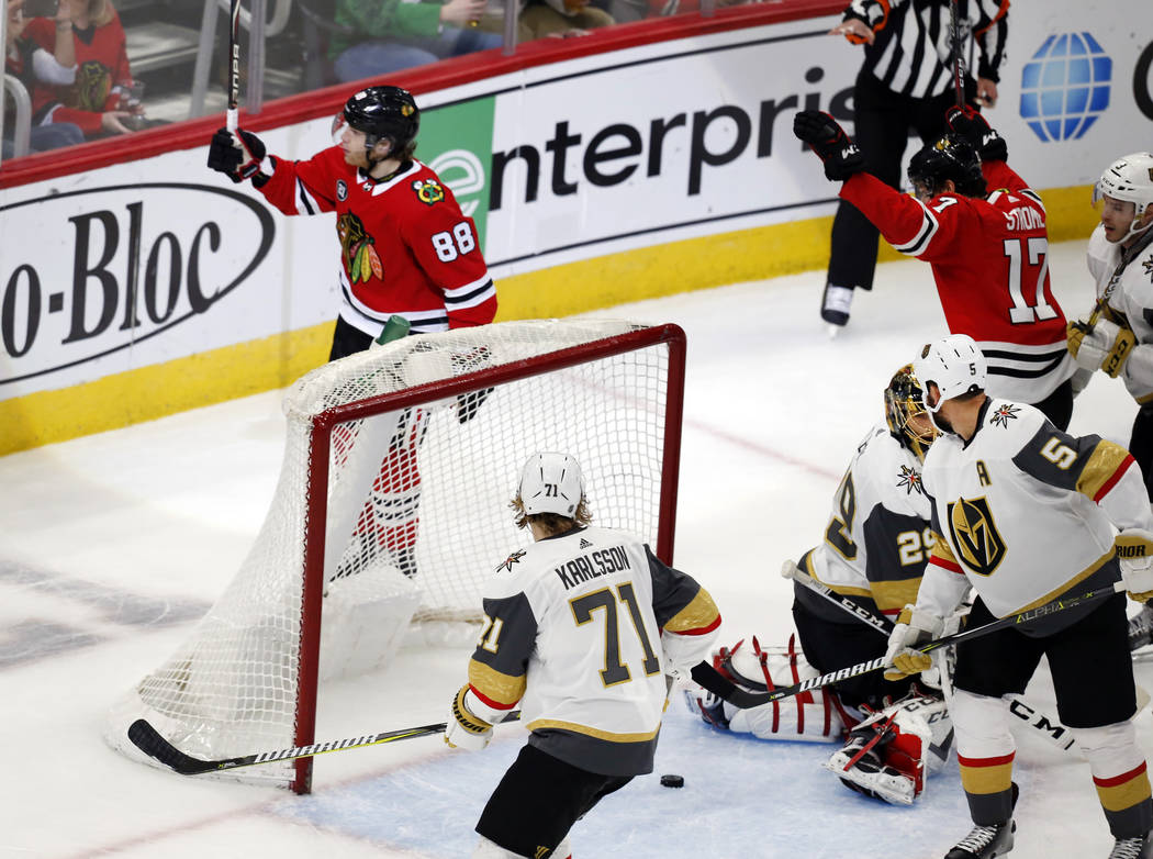 Chicago Blackhawks right wing Patrick Kane (88) celebrates his goal against the Vegas Golden Knights, during the first period of an NHL hockey game Saturday, Jan. 12, 2019, in Chicago. (AP Photo N ...