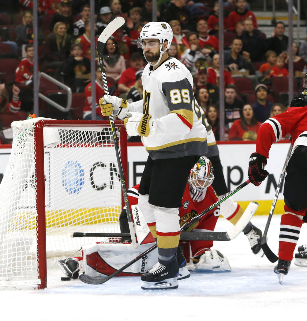 Vegas Golden Knights right wing Alex Tuch (89) reacts after his goal against the Vegas Golden Knights during the second period of an NHL hockey game Saturday, Jan. 12, 2019, in Chicago. (AP Photo ...
