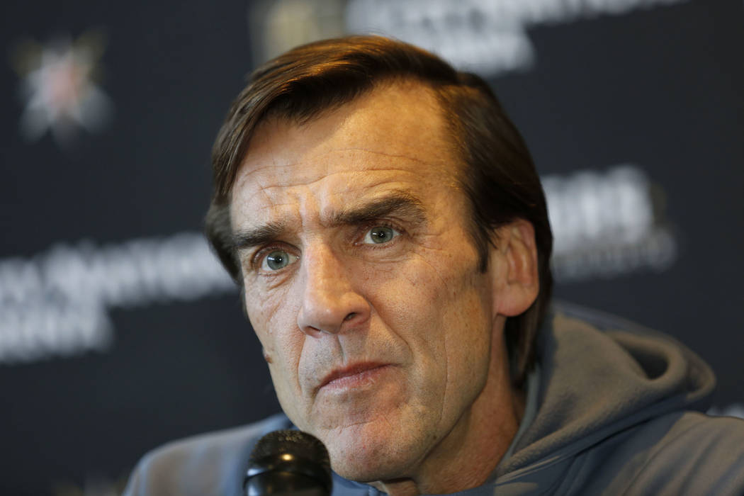 Vegas Golden Knights General Manager George McPhee listens to a reporter's question during a news conference in Las Vegas, Sunday, July 1, 2018, to discuss the opening of NHL free agency. Chitose ...