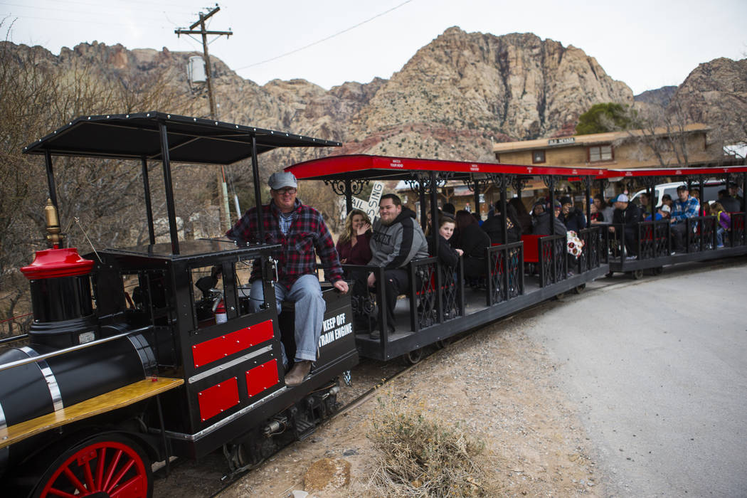 Visitors enjoy a train ride at Bonnie Springs Ranch outside of Las Vegas on Saturday, Jan. 12, 2019. The ranch is under contract to be sold and demolished for luxury home lots. Chase Stevens Las V ...