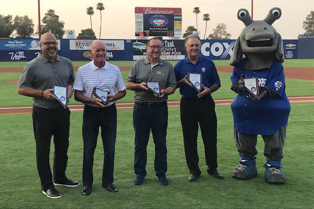 Ceremony from August 10, 2018, at Cashman Field. Left to right: Chuck Johnson (Aviators GM), Larry Koentopp, Rossi Ralenkotter, Don Logan (Aviators President/COO). Photo by Steve Spatafore