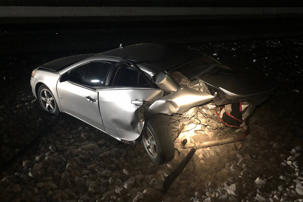 The scene of a fatal crash on the 215 Beltway in Las Vegas on Saturday, Jan. 12, 2019. (Nevada Highway Patrol)