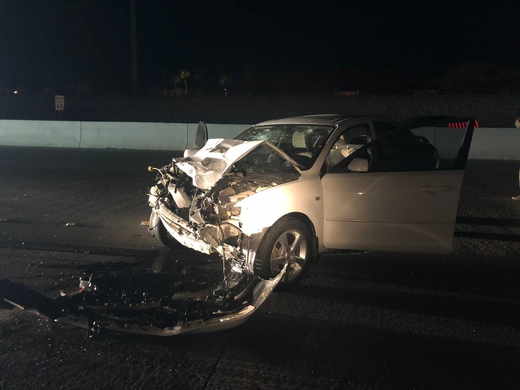 The scene of a fatal crash on the 215 Beltway in Las Vegas on Saturday, Jan. 11, 2019. (Nevada Highway Patrol)