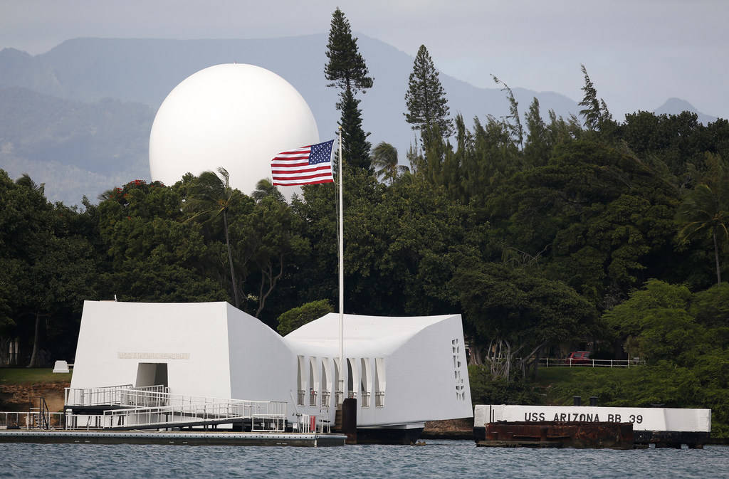 USS Arizona Memorial, part of the World War II Valor in the Pacific National Monument, at Joint Base Pearl Harbor-Hickam, Hawaii on Dec. 27, 2016. (AP Photo/Carolyn Kaster, File)
