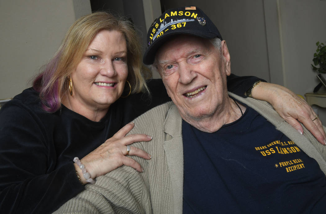In this Tuesday, Jan. 8, 2019 photo Sue Morse and her dad Duane Sherman, 96, pose for a photo at their home in Fullerton, Calif. Sue posted on social media asking friends to send him a birthday ca ...