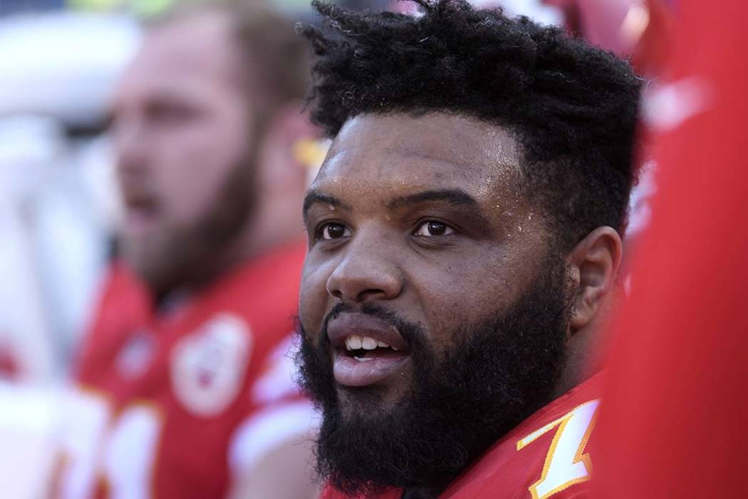 FILE - In this Dec. 9, 2018, file photo, Kansas City Chiefs offensive tackle Jeff Allen during the first half of an NFL football game in Kansas City, Mo. Allen thanked the man who helped pull his ...