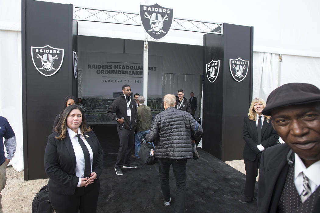 Arriving guest are greeted during a groundbreaking ceremony for the new Raiders Headquarters in Henderson on Monday, Jan. 14, 2019. Richard Brian Las Vegas Review-Journal @vegasphotograph