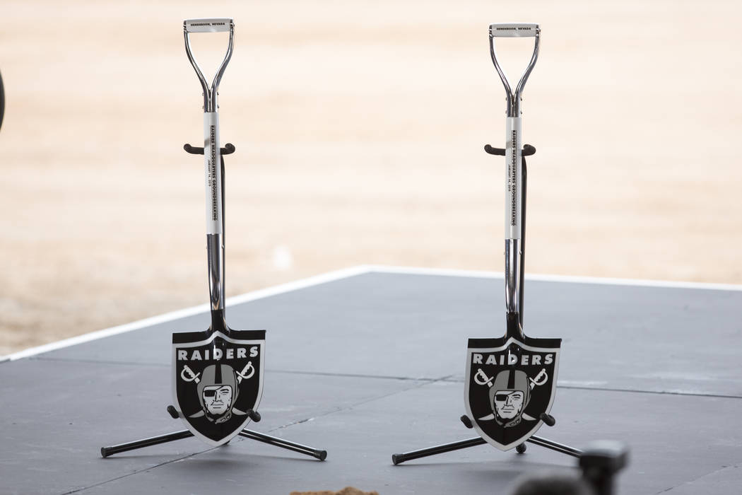 Ceremonial shovels rest on stage before a groundbreaking ceremony for the new Raiders Headquarters in Henderson on Monday, Jan. 14, 2019. Richard Brian Las Vegas Review-Journal @vegasphotograph