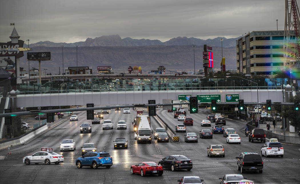 Dark clouds form above The Strip on Monday, Jan. 14, 2019, in Las Vegas. Clouds, rain and snow are expected in parts of the Las Vegas Valley this week. Benjamin Hager Las Vegas Review-Journal