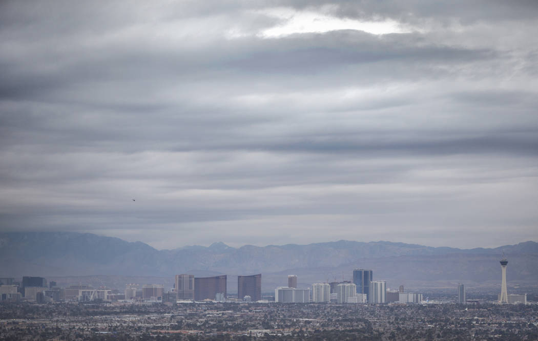 Dark clouds move across the Las Vegas Valley on Monday, Jan. 14, 2019, in Las Vegas. Clouds, rain and snow are expected in parts of the Las Vegas Valley this week. Benjamin Hager Las Vegas Review- ...
