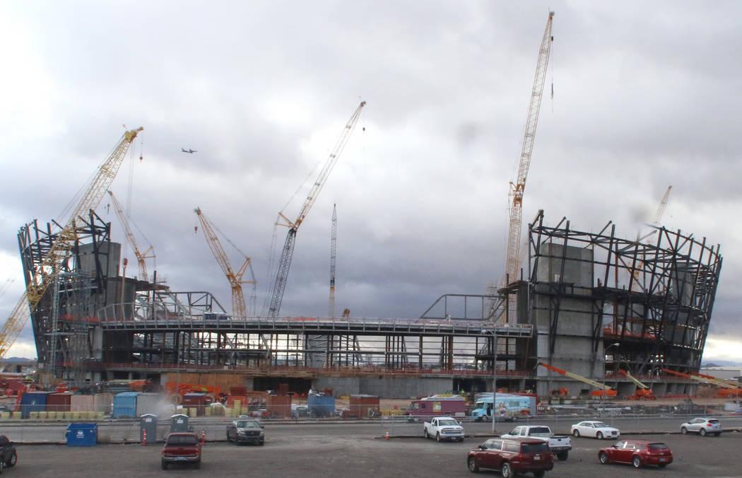 The construction site for the future Raiders stadium photographed on Thursday, Jan. 17, 2019, in Las Vegas. Bizuayehu Tesfaye/Las Vegas Review-Journal @bizutesfaye
