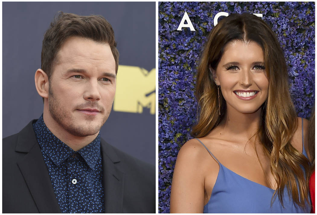 This combination of file photos shows Chris Pratt at the MTV Movie and TV Awards on June 16, 2018, in Santa Monica, Calif., left, and Katherine Schwarzenegger at Caruso's Palisades Village opening ...