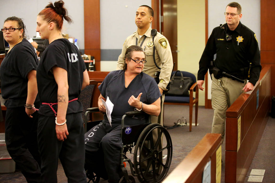 Mark Georgantas is wheeled into court at the Regional Justice Center in Las Vegas on Monday, Jan. 14, 2019. The alleged con man, who was on the run from authorities after skipping court last summe ...