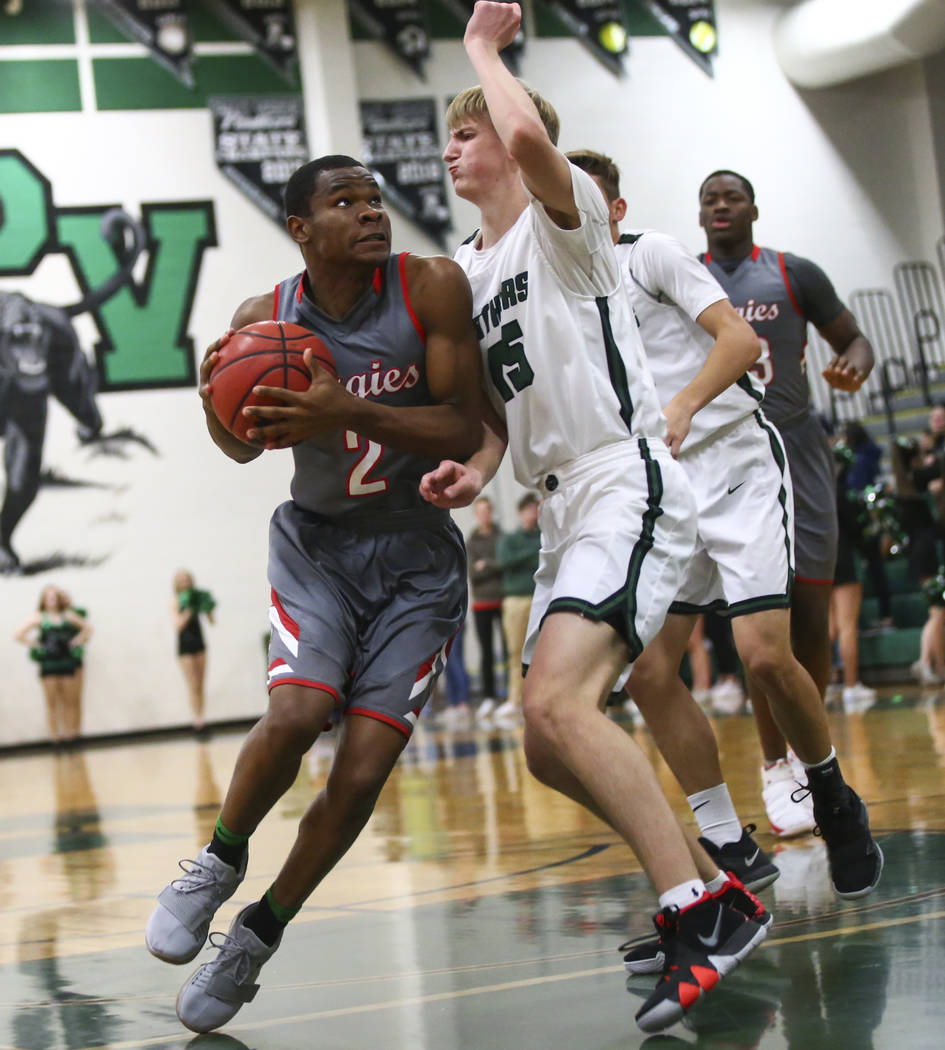 Arbor View's Favour Chukwukelu (2) drives to the basket against Palo Verde's Harlan Nichols (45) during a basketball game at Palo Verde High School in Las Vegas on Thursday, Jan. 17, 2019. Chase S ...