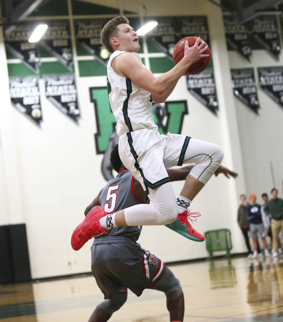 Palo Verde's Kade Madsen (23) goes to the basket against Arbor View during a basketball game at Palo Verde High School in Las Vegas on Thursday, Jan. 17, 2019. Chase Stevens Las Vegas Review-Journ ...