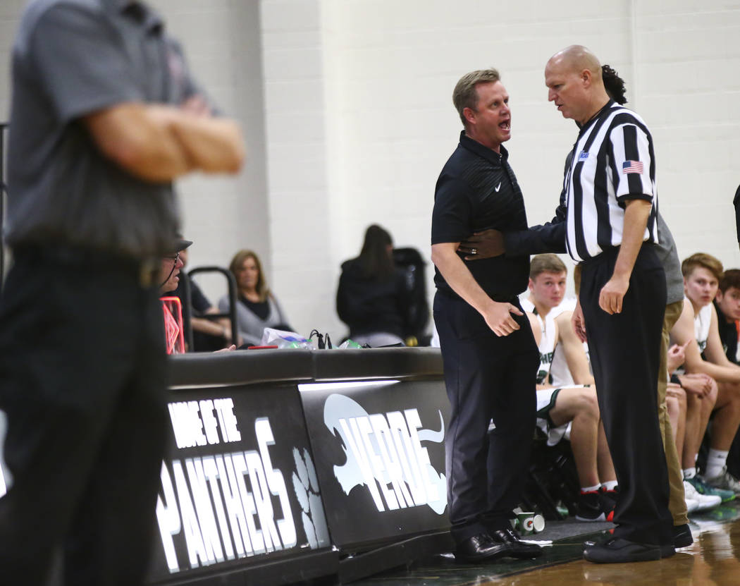 Palo Verde head coach Pat Condron argues with a referee during a basketball game against Arbor View at Palo Verde High School in Las Vegas on Thursday, Jan. 17, 2019. Chase Stevens Las Vegas Revie ...