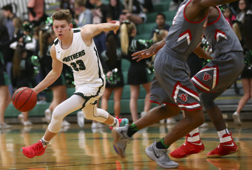 Palo Verde's Kade Madsen (23) moves the ball against Arbor View during a basketball game at Palo Verde High School in Las Vegas on Thursday, Jan. 17, 2019. Chase Stevens Las Vegas Review-Journal @ ...