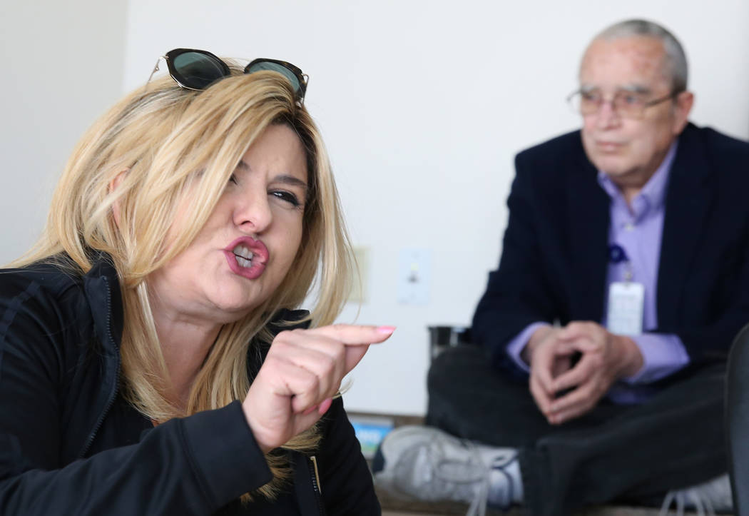 Councilwoman Michele Fiore speaks as Dan Burdish, Fiore's special assistant, looks on during an interview with the Las Vegas Review-Journal on Monday, Jan. 21, 2019, in Las Vegas. Bizuayehu Tesfay ...