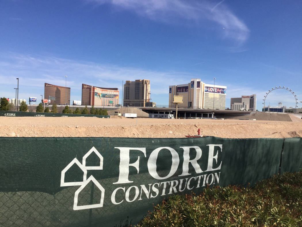 Las Vegas developer Jonathan Fore plans to build a 287-unit apartment complex west of the Strip. A portion of the 6-acre project site is seen Friday, Jan. 11, 2019. Eli Segall/Las Vegas Review-Journal